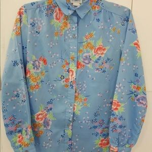 Levi Strauss Co Size 10 Silky Blue Floral Button